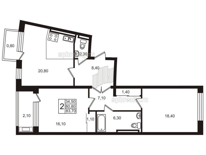 Планировка Двухкомнатная квартира площадью 81.7 кв.м в ЖК «Стокгольм (STOCKHOLM)»