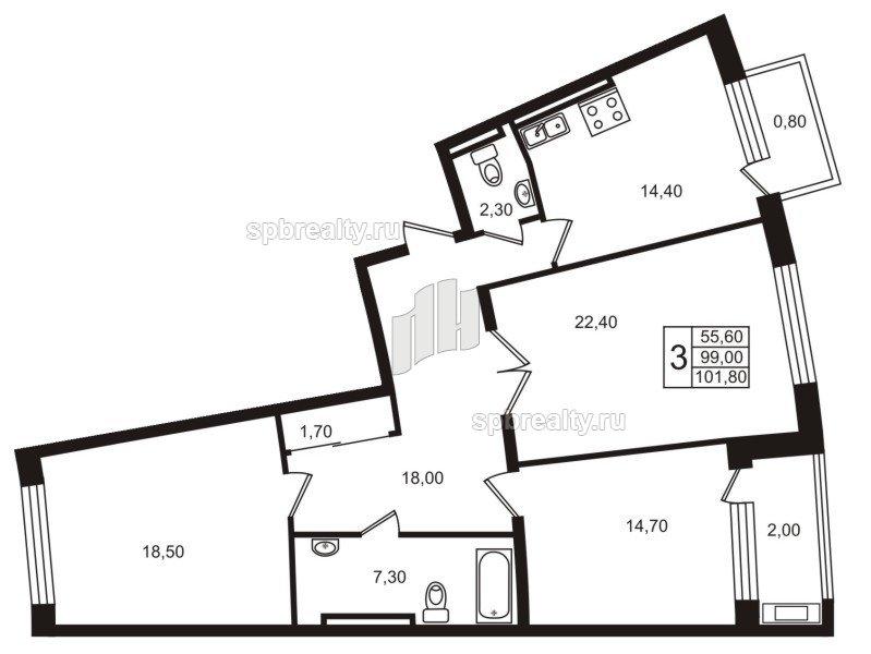 Планировка Трёхкомнатная квартира площадью 99.1 кв.м в ЖК «Стокгольм (STOCKHOLM)»