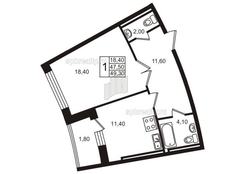 Планировка Однокомнатная квартира площадью 47.7 кв.м в ЖК «Стокгольм (STOCKHOLM)»