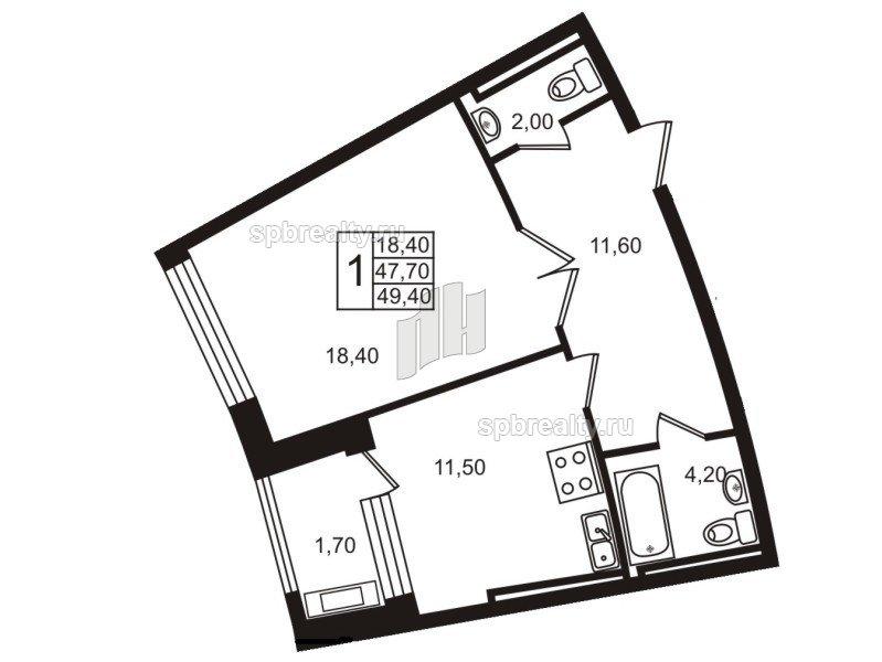 Планировка Однокомнатная квартира площадью 47.6 кв.м в ЖК «Стокгольм (STOCKHOLM)»