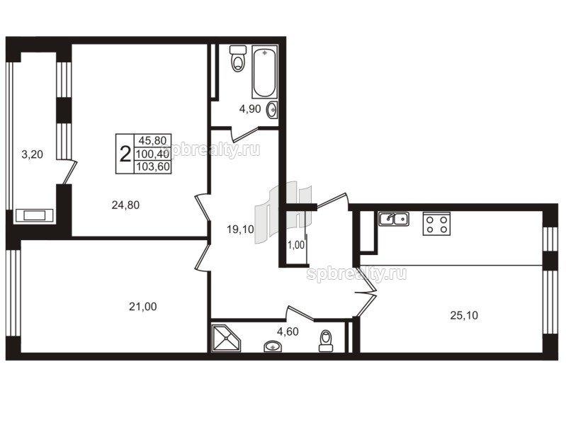 Планировка Двухкомнатная квартира площадью 100.4 кв.м в ЖК «Стокгольм (STOCKHOLM)»