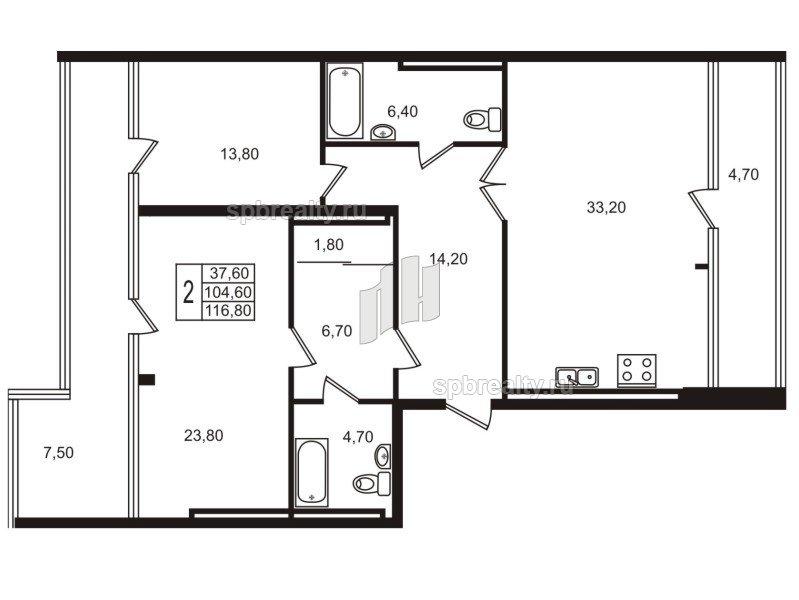 Планировка Двухкомнатная квартира площадью 104.1 кв.м в ЖК «Стокгольм (STOCKHOLM)»
