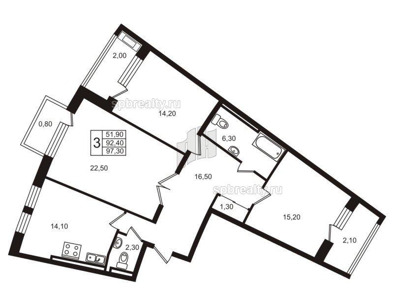 Планировка Трёхкомнатная квартира площадью 92.4 кв.м в ЖК «Стокгольм (STOCKHOLM)»