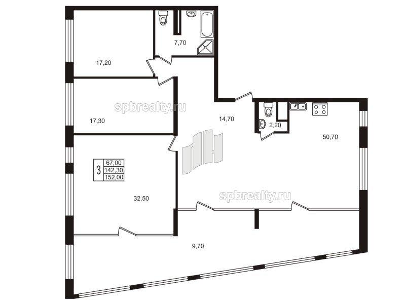 Планировка Трёхкомнатная квартира площадью 142 кв.м в ЖК «Стокгольм (STOCKHOLM)»