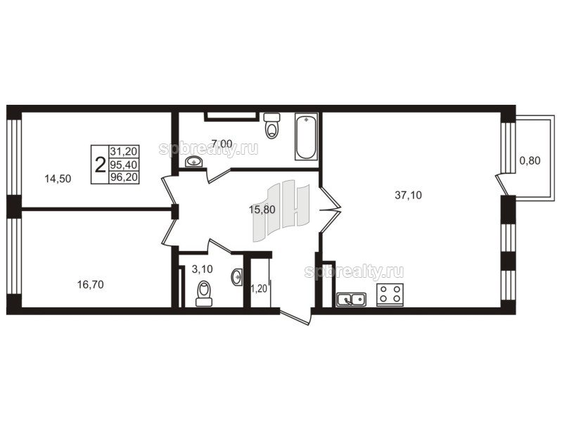 Планировка Двухкомнатная квартира площадью 95.7 кв.м в ЖК «Стокгольм (STOCKHOLM)»