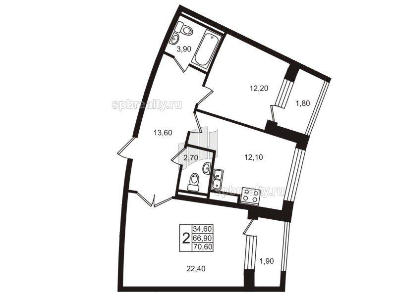 Планировка Двухкомнатная квартира площадью 66.7 кв.м в ЖК «Стокгольм (STOCKHOLM)»