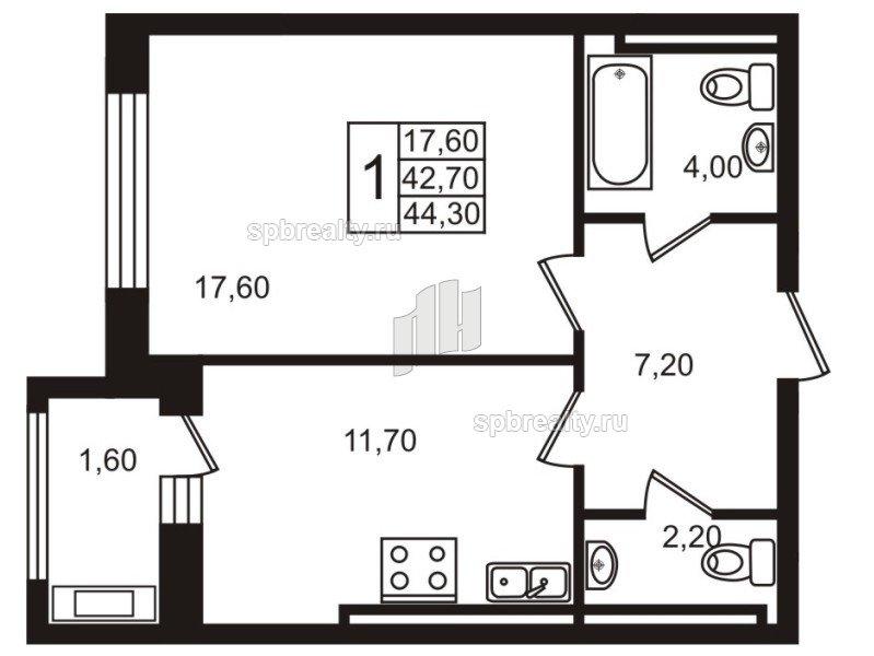 Планировка Однокомнатная квартира площадью 42.4 кв.м в ЖК «Стокгольм (STOCKHOLM)»