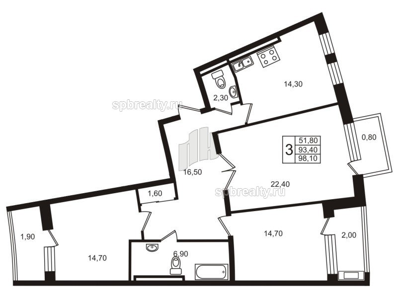 Планировка Трёхкомнатная квартира площадью 93.4 кв.м в ЖК «Стокгольм (STOCKHOLM)»