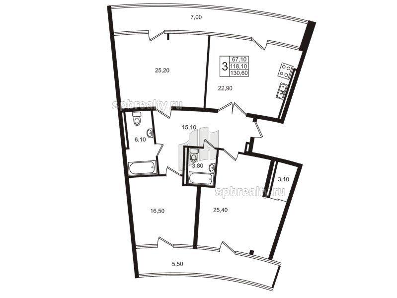 Планировка Четырёхкомнатная квартира площадью 115.4 кв.м в ЖК «Стокгольм (STOCKHOLM)»