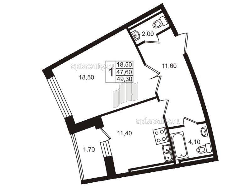 Планировка Однокомнатная квартира площадью 48.1 кв.м в ЖК «Стокгольм (STOCKHOLM)»