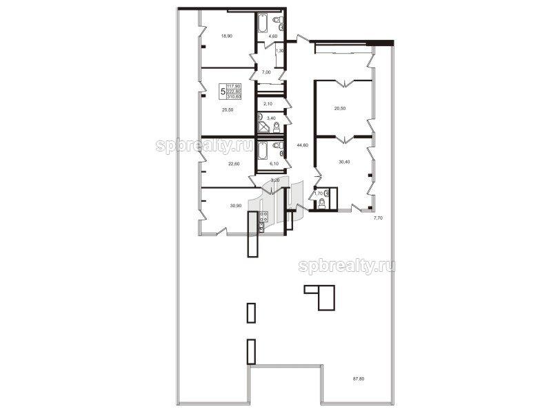Планировка Пятикомнатная квартира площадью 222.4 кв.м в ЖК «Стокгольм (STOCKHOLM)»